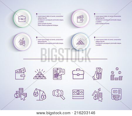 E-commerce infographic, banner with icons and explanatory additional text to each image, represented on vector illustration isolated on grey