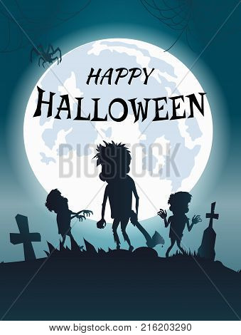 Happy Halloween scary banner with monsters and zombies with axes illuminated by huge moon. Vector illustration with spooky graveyard with huge spiders