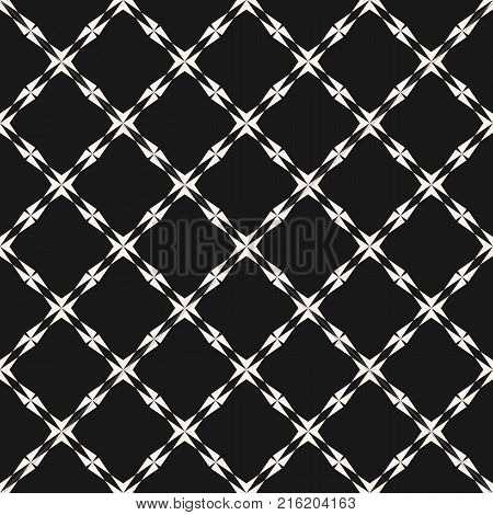 Abstract geometric seamless pattern. Elegant texture with carved shapes, cross, lines, diagonal square grid. Monochrome repeat background. Stylish black and white design for decor, covers. Stock vector.