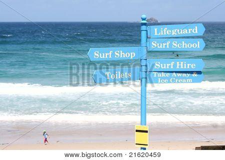 Surf School Sign Post