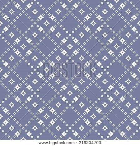 Geometric seamless pattern with diamond shapes, outline rhombuses, stars in diagonal square grid. Abstract background in trendy pastel colors, blue serenity and white. Repeat design. - Stock vector
