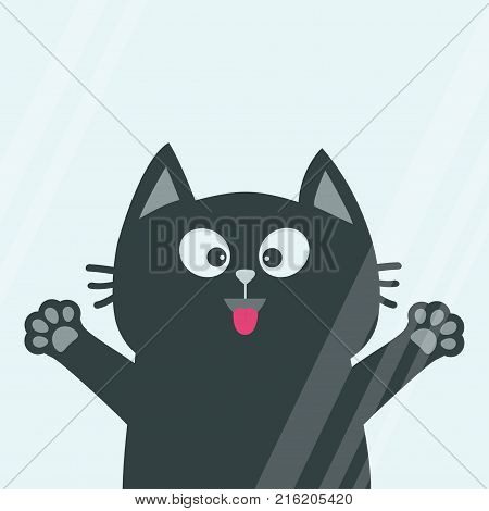 Black cat face head tongue paw print silhouette licks window glass. Adopt me. Cute cartoon character. Help animal Pet adoption Flat design White background. Isolated. Vector illustration