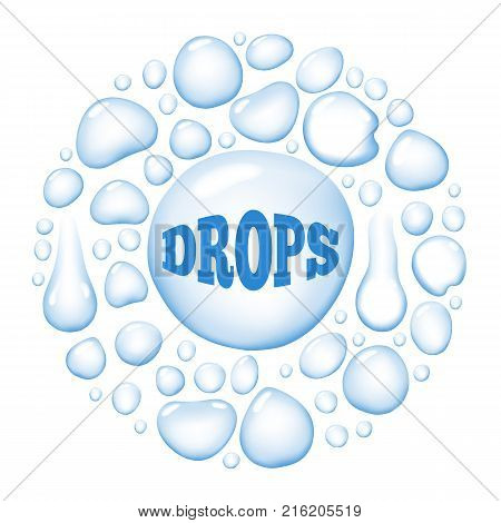 Round wet water drops isolated on white background. Vector illustration with huge different shaped liquid blobs altogether forming big circle