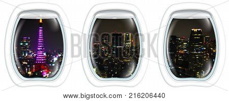 Three porthole frame windows on aerial view over Tokyo tower and Tokyo cityscape view from Tokyo World Trade Center at night, Tokyo, Japan.