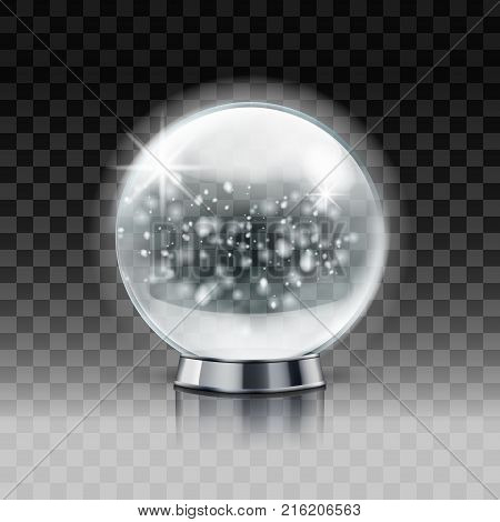 Christmas Snow Globe. Transparent Christmas Ball With Snow Inside. Eps10 Vector