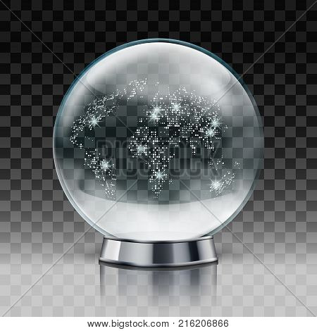 Christmas Snow World Globe. Transparent Christmas Ball With Snow Inside. Eps10 Vector