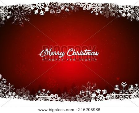 Illustration of a retro red christmas design background with white snowflakes and pine trees silhouette