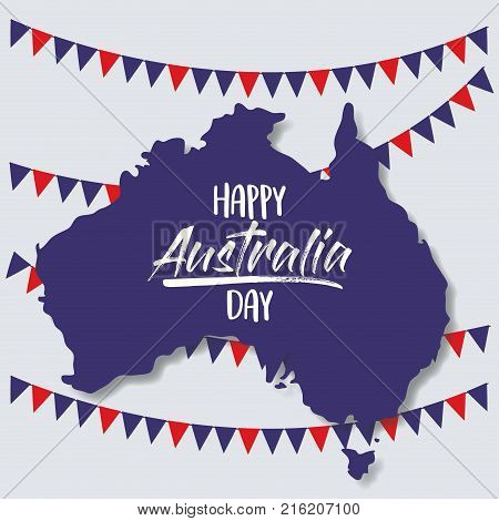 happy australia day poster with australia map and colorful festoons in background vector illustration