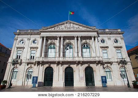 Lisbon Portugal I -July 7 2014:The Lisbon City Hall is the seat of the Lisbon municipal government. The building is located in the City Square Santa Maria Maior Lisbon.