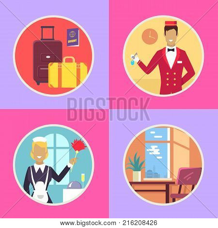 Heavy baggage, international passport, receptionist in red uniform with keys, maid with dust brush and cozy room vector illustrations in circles.