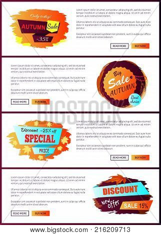 Only today autumn big sale 2017 best offer special price discounts on fall collection web banners with buttons read more and buy now vector set