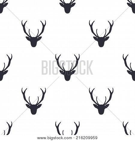 Deer head pattern. Wild animal symbols seamless background. Deers icon. Retro wallpaper. Stock vector illustration isolated on white.