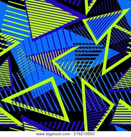 Urban art sport abstract vector seamless pattern with geometric elements chaotic lines triangles stripes. Creative colorful repeat background for boys and girls. Bright neon color. Sport pattern. Urban pattern. Geometric pattern. Stripes pattern.