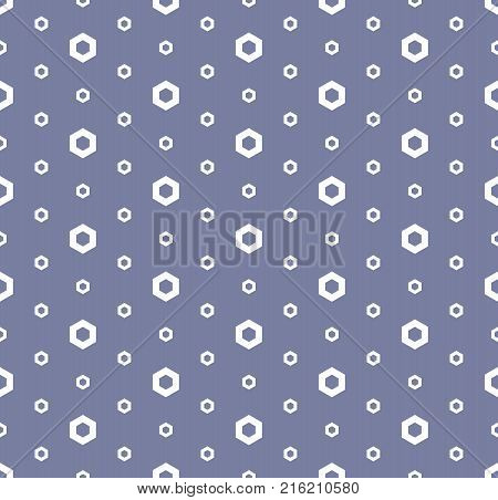 Abstract geometric seamless pattern in trendy pastel colors, blue serenity and white. Simple texture with linear hexagons. Modern stylish repeat minimalist background. Design for decor. Stock vector.