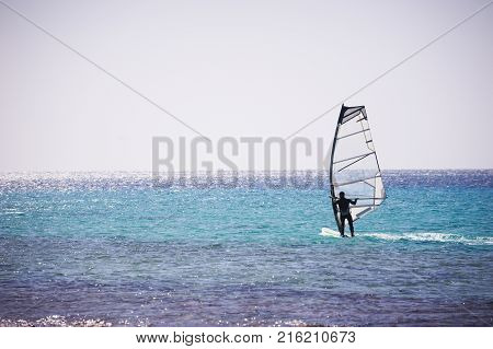 Windsurfing sail on the blue sea. Dahab, Egypt