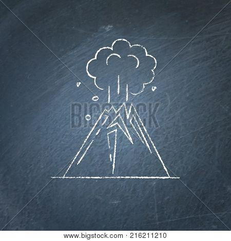 Volcano eruption icon on chalkboard. Linear mountain symbol - chalk drawing.