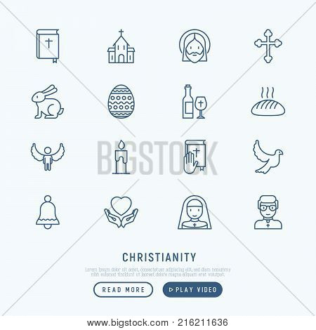 Christianity thin line icons set of priest, church, nun, crucifixion, Jesus, bible, dove. Vector illustration.