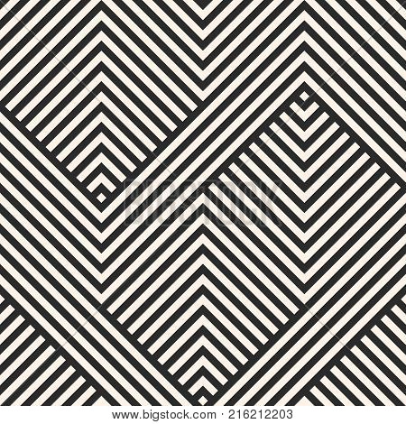 Vector geometric lines pattern. Abstract graphic striped ornament.  black and white stripes, zigzag shapes. Modern stylish linear background. Repeat design for decor, textile. Geometric pattern. Lines pattern. Stripes pattern.