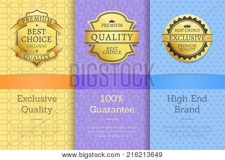 Exclusive quality 100 guarantee high end check golden labels set of logos design on colorful posters with text vector illustrations collection