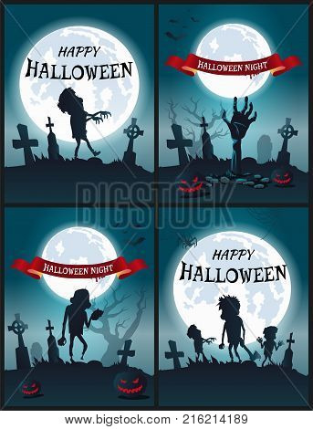 Happy Halloween night set of scary posters with monsters and zombies on dark spooky graveyard. Vector illustration illuminated by moonlight