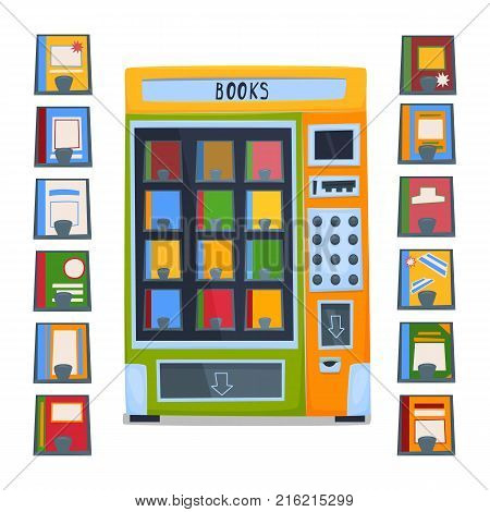 vending machine for selling books. A set of books and magazines. Vector illustration.