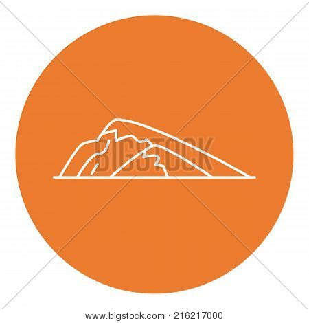 Sloping hill icon in thin line style. Low mountain symbol in round frame.