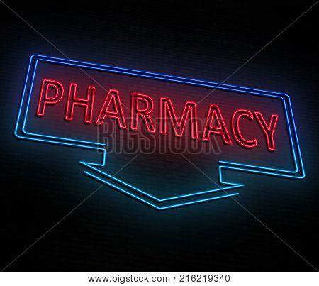 Neon Pharmacy Concept.