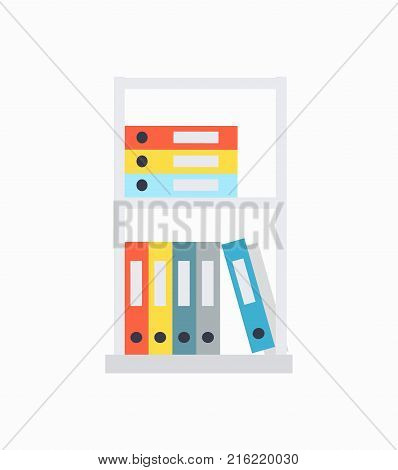 Shelves and document cases of different colours lying on them, organized information collection, of catalogues on vector illustration