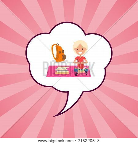 Happy kid with school accessories rucksacks and textbooks sit on cover isolated in speech bubble on background with pink rays. Banner with smiling boy