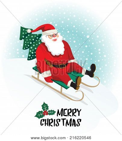 Santa Claus gives gifts on Sledging. Vector illustration.