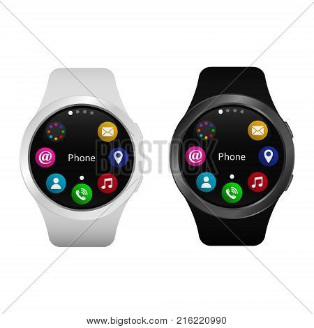 Smart watch vector. Realistic smart watch with apps on screen isolated on white.