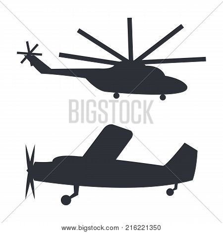 Helicopter and plane black silhouettes isolated on white vector illustration in flat design. Closeup poster of transports for flying