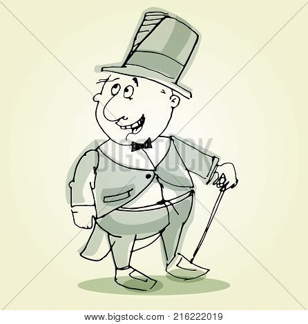 Illustration of isolated cute  gentleman. Vector illustration. Sketch hand drawn.