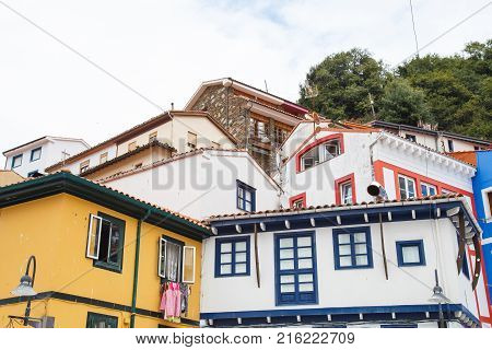 Nice views of the houses of Cudillero, small fishing village in Asturias, Spain.