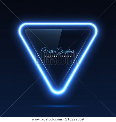 The glass banner is triangular in shape. Transparent billboard with blue neon lights. Vector illustration.