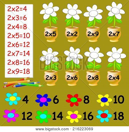 Exercise for children with multiplication by two. Need to paint the flowers in relevant color. Developing skills for counting. Vector image.