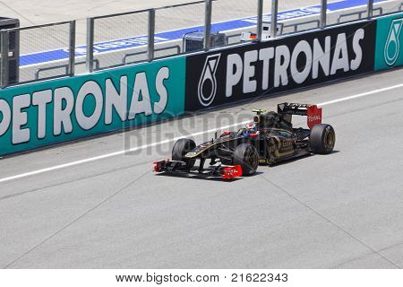 Sepang, Malaysia - April 8: Vitaly Petrov (team Lotus Renault) At First Practice On Formula 1 Gp, Ap