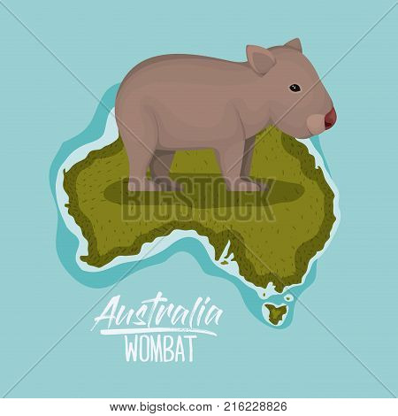 poster wombat in australia map in green surrounded by the ocean vector illustration