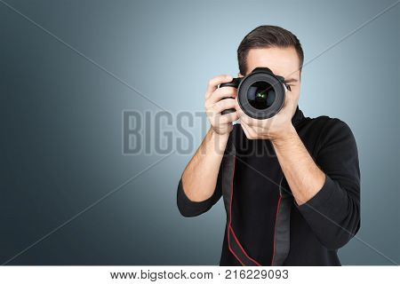 Male camera photographer professional occupation one person digital camera one man only