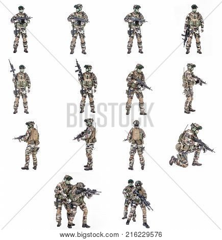 Set of Paratroopers of french 1st Marine Infantry Parachute Regiment RPIMA studio shot poster