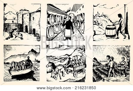 Hand drawn Illustrations for winemaking. Man carries barrels of wine in a cart. Men carry wine barrels. The man on the boat. Confident male sommelier examining glass with wine  near the wooden shelf.