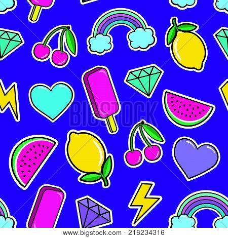 Cute seamless pattern with colorful patches. Stickers of ice cream, cherry, watermelon, rainbow lemon diamonds etc on violet background. Fashion patches and stickers. Vector illustration.