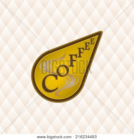 Coffee label is gold and brown in teardrop shape