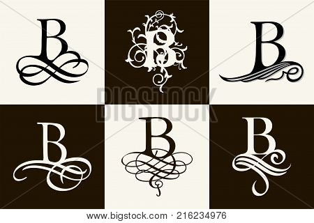 Vintage Set . Capital Letter B for Monograms and Logos. Beautiful Filigree Font. Victorian Style