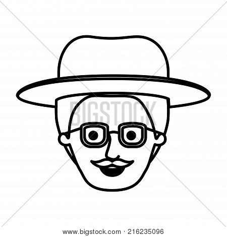 male face with hat and glasses with short hair and moustache in monochrome silhouette vector illustration