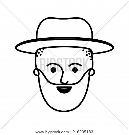 male face with hat and taper fade haircut and beard in monochrome silhouette vector illustration