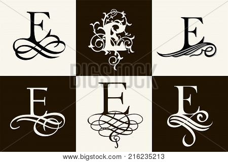 Vintage Set . Capital Letter E for Monograms and Logos. Beautiful Filigree Font. Victorian Style