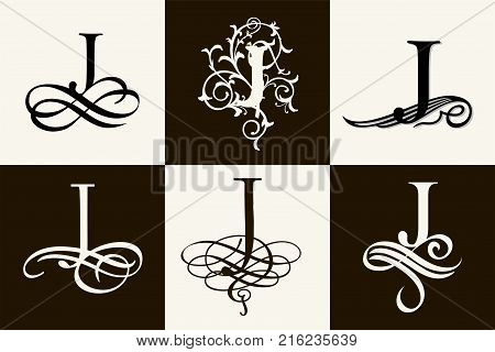 Vintage Set . Capital Letter J for Monograms and Logos. Beautiful Filigree Font. Victorian Style