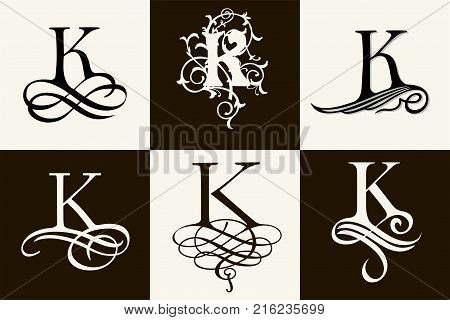 Vintage Set . Capital Letter K for Monograms and Logos. Beautiful Filigree Font. Victorian Style