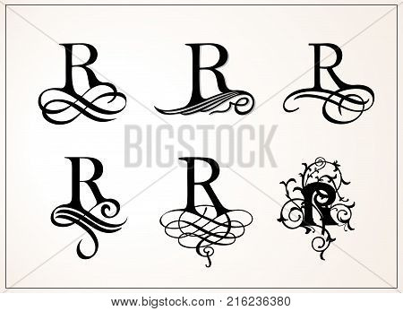 Vintage Set . Capital Letter R for Monograms and Logos. Beautiful Filigree Font. Victorian Style